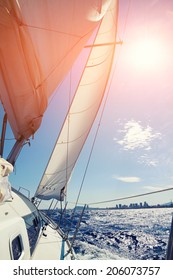 Mediterranean sea from beautiful sailboat, racing yacht in the Mediterranean sea on blue sky background