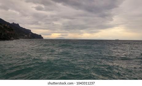 Mediterranean Sea in coast of Amalfi (South of Italy)
