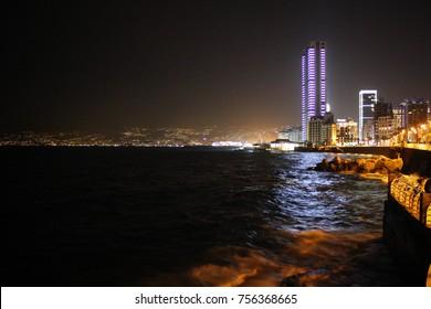 Mediterranean Sea coast of Beirut by night, Lebanon