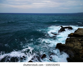 Mediterranean Sea during a stormy day. Landscape of Siracusa, Sicily, Italy.  Stormy day in Siracusa.