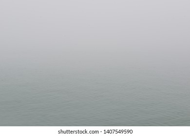Mediterranean sea in fog. Foggy weather near italian island Burano, province of Venice, Italy.