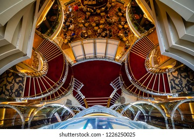 Mediterranean sea, Greece - 16.10.2018: Interior of The Atrium of Cruise Ship Norwegian Star with people during a cruise to Greece