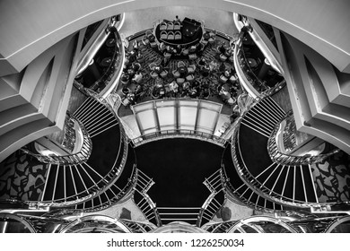 Mediterranean sea, Greece - 16.10.2018: Interior of The Atrium of Cruise Ship Norwegian Star with people during a cruise to Greece, black and white colors