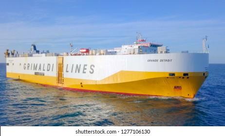 Mediterranean sea - January 5, 2019: Large Grimaldi Lines RoRo (Roll on/off) Vehicle carrie vessel cruising the Mediterranean sea. Based in Italy, Grimaldi operates a large fleet of ro-ro vessel.
