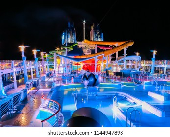Mediterranean Sea, July 10th, 2014. The pool onboard Norwegian Cruise Line Epic at night.