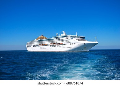 MEDITERRANEAN SEA - JUNE 1: MV Oceana is a cruise ship of the P&O Cruises fleet. The ship was built by Fincantieri at their shipyard in Monfalcone, Italy, in the Mediterranean Sea, June 1, 2014.