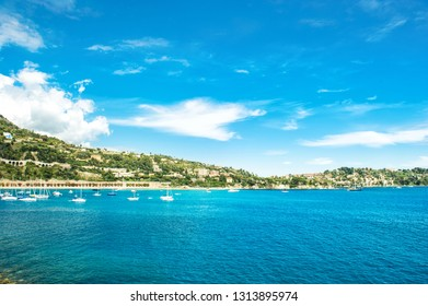 Mediterranean sea landscape. Villefranche by Nice, French riviera. Summer holidays background