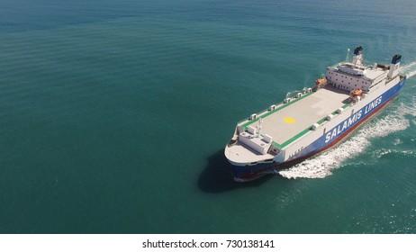 Mediterranean sea - October 6, 2017: Large RoRo (Roll on/off) vessel cruising the Mediterranean sea.B