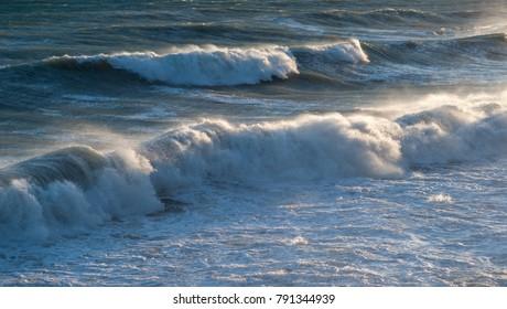 Mediterranean sea. Scenic view of waves splashing