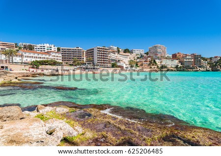 Mediterranean Sea Spain, coast beach Majorca Cala Major, Balearic Islands.