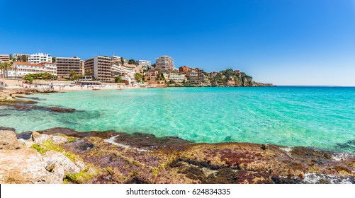 Mediterranean Sea Spain, coastline scenery on Majorca island, seaside beach of Cala Major.