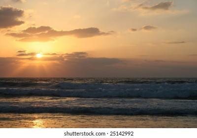 Mediterranean sea at sunset