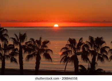 Mediterranean Sea Sunset at Malaga beach, Spain, Andalusia