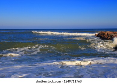 Mediterranean sea and swell in Pyrenees orientales, Roussillon region of France
