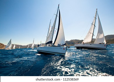 MEDITERRANEAN SEA, TURKEY- MAY 29: Boats Competitors During of sailing regatta Sail & Fun Trophy 2012 from Marmaris to Fethiye, May 29, 2012 in the Mediterranean Sea, Turkey.