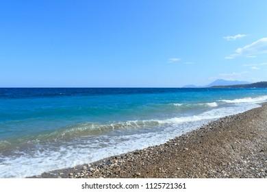Mediterranean Sea with turquoise water in Kemer, Turkey.