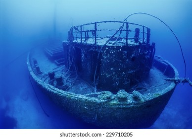 Mediterranean Sea, U.W. photo, wreck diving, Tunisia, La Galite Islands, sunken russian ship wreck - FILM SCAN