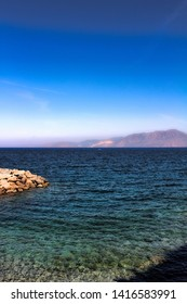 Mediterranean sea view with mountains on a beautiful sunny sommer day.