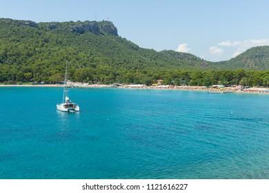 Mediterranean Sea and yacht in Kemer, Turkey.