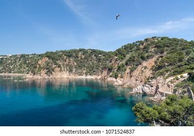 Mediterranean seascape in Costa Brava, Sant Feliu de Guixols,Catalonia,Spain.