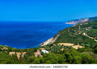 mediterranean shore with blue see and cloudless sky