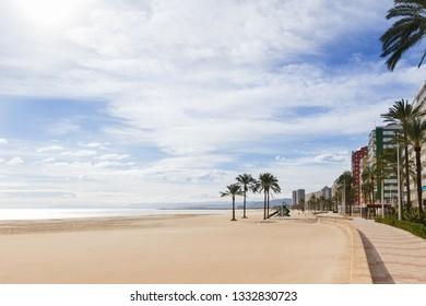 Mediterranean shore with palm tree's in Cullera, Valencia, Spain