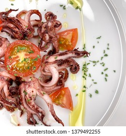 Mediterranean squid legs grilled with natural tomato and extra virgin olive oil from Spain
