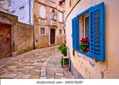 Mediterranean stone street of Porec view, Istria region of Croatia