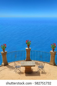 mediterranean summer vacations scenery with terrace and view to the sea