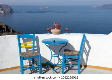 Mediterranean terrace with amazing view of sea and Caldera on Santorini Island