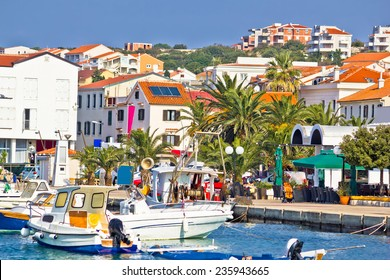 Mediterranean town of Novalja waterfront view, Island of Pag, Croatia