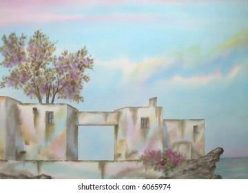 "Mediterranean Traditional White Village, Stromboli Island, Sicily, Italy; 50x70 cms. = 20""x28"" # 97-125"