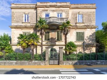 Mediterranean Villa Building on the Streets of Opatija , Kvarner bay of Croatia.