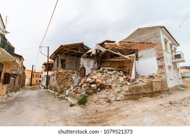 Mediterranean village buildings after an earthquake. Vrisa: The ghost village of Lesvos after earthquake strikes with 6.3R.