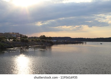 mediterranean village of Guissan and marine pond at sunset  , Aude in the south of France