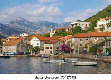 Mediterranean village of Lepetane. Bay of Kotor, Montenegro