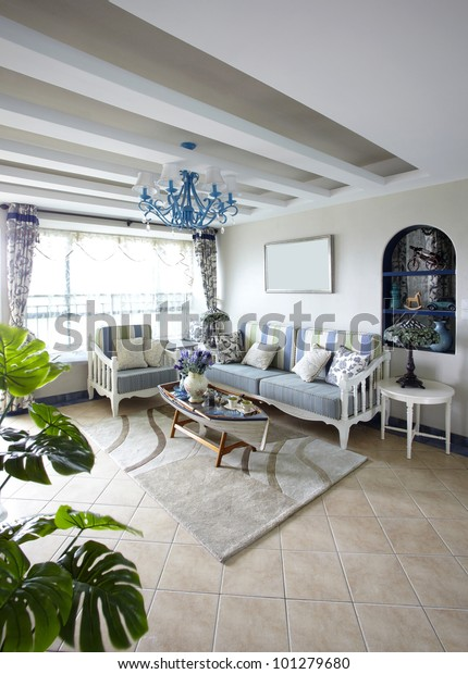 Mediterraneanstyle Living Room Stock Photo (Edit Now) 101279680