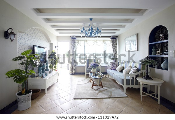 Mediterraneanstyle Living Room Interiors Stock Photo (Edit ...