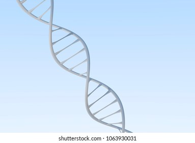 Medium DNA Double helix, metal with white and blue background