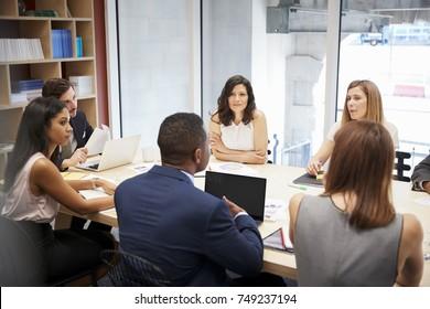 Medium group of people at a boardroom meeting