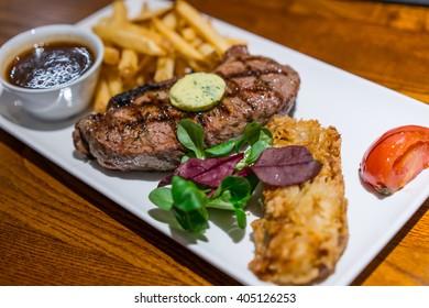 Medium rare grilled beef  Sirloin steak