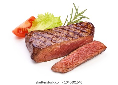 Medium rare grilled beef steak, sliced fried meat, close-up, isolated on white background.