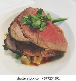 Medium rare roast beef for Sunday lunch