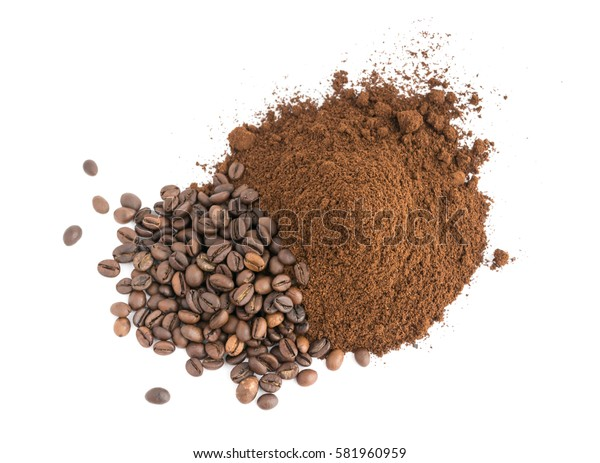 Medium Roast Fine Grinding Coffee and Whole Grains on Wood Background