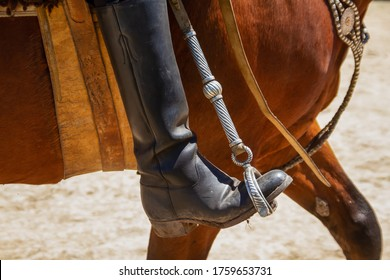 Medium shot of the boot alighted in a stirrup of a Gaucho riding a horse on the day of the tradition in San Antonio de Areco, Argentina.