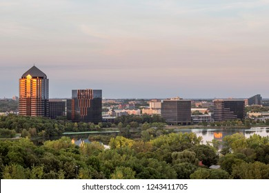A Medium Shot of the Lake Normandale  Office Block Reflecting a Late Summer Sunset in Bloomington, Minnesota