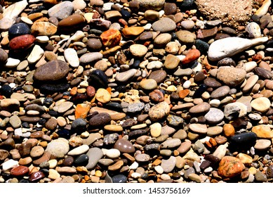 Medium sized aggregate rounded from Lake Michigan wave action with a variety of colors and sized smoothed rocks.