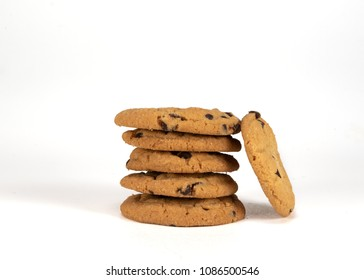 Medium Stack of Chocolate Chip Cookies on White Background