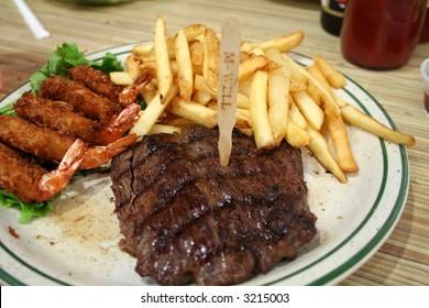 Medium Well Steak and Shrimp dinner