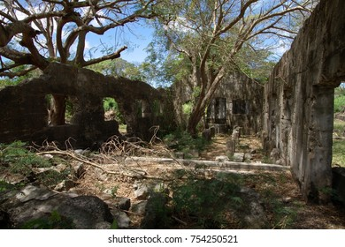 Medium wide shot of the ruins of an old World War 11 Japanese Jail  and archeological district on Saipan, Northern Mariana Islands, listed in the U.S. National Register of Historic Places.